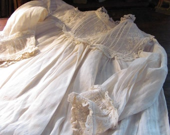 Antique Christening Dress Hand Sewn Handmade Lace & Embroidery Delicate Cotton Off White Fabric Simple Striped Design