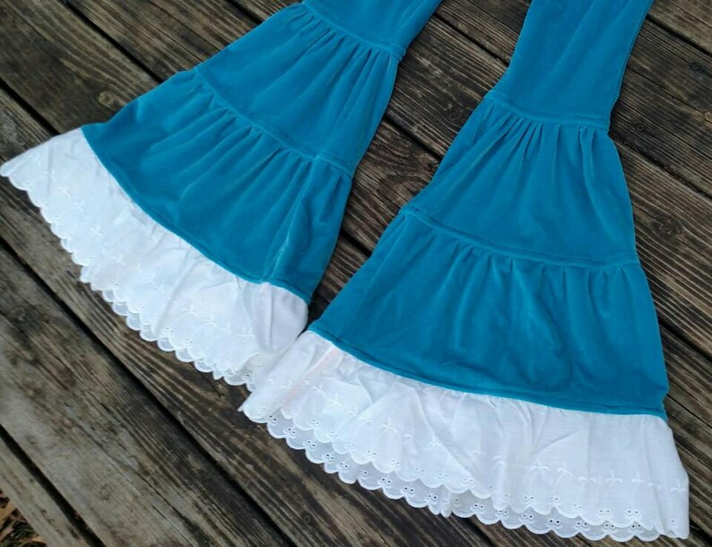 Stretch velvet Tiered Flow Pants Flared Leggings hippie bohemian bell bottoms smurf blue