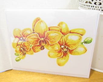 Yellow Orchids Blank Greeting Card
