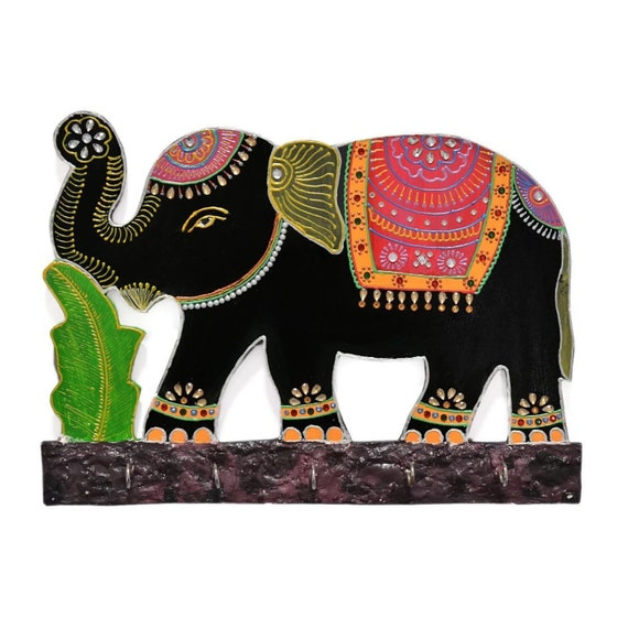 Elephant Home Decor Handcrafted Key Holder For Wall Decoration Elephant Shaped Indian Artwork For House Warming Gifts