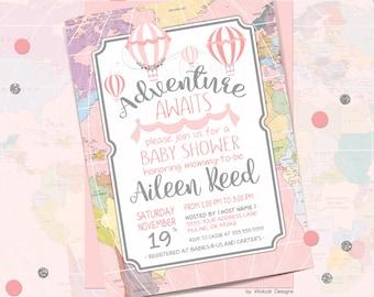 Adventure awaits, baby shower invitation, world baby shower invitation, girl baby shower invitation, hot air balloon, Printable Invitation