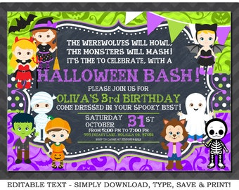 Editable Halloween Invitation Purple Birthday Invitations Girls Party Instant Download