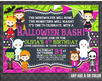 Halloween Birthday Invitations For Girl Pink Invitation Party Invites Girls