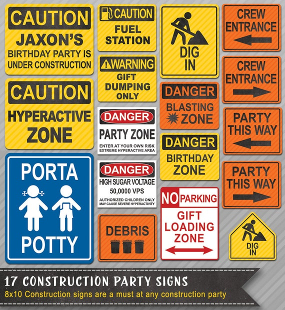construction party signs construction signs construction etsy