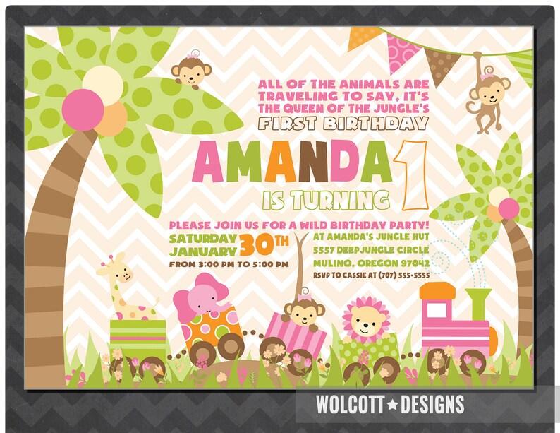 Girls Jungle Birthday Invitation Pink Jungle Invitations Animal Invitation Birthday Invitation Girls Jungle Monkey Giraffe Elephant