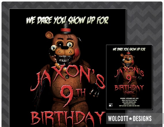 Five Nights At Freddys Invitation Fazzbear Party