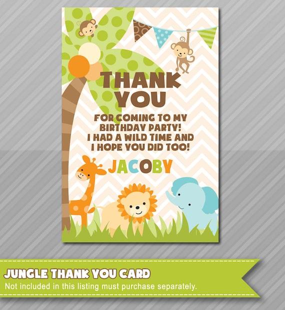 Jungle Theme Thank You Card Matching Jungle Invitations Baby Etsy