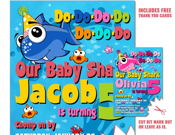 Baby Shark Birthday Invitation Party