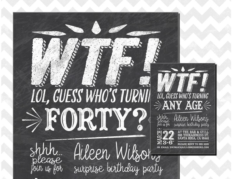 40th Birthday Party Invitation Who S Turning 40 Wtf Etsy