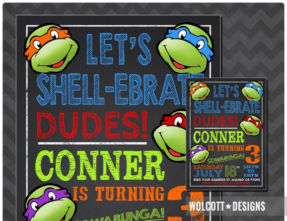 photo regarding Printable Ninja Turtle Invitations known as Ninja Turtles Invitation, TMNT Invite, Chalkboard, Ninja