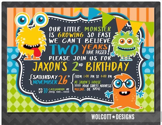 little monster birthday invitation boy or girl birthday party
