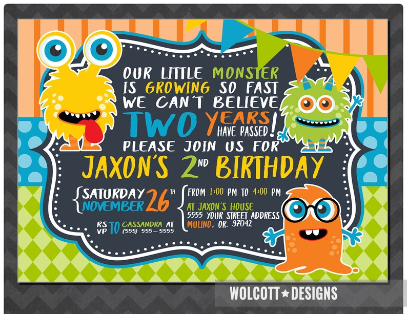 Little Monster Birthday Invitation Boy Or Girl Party Toddl