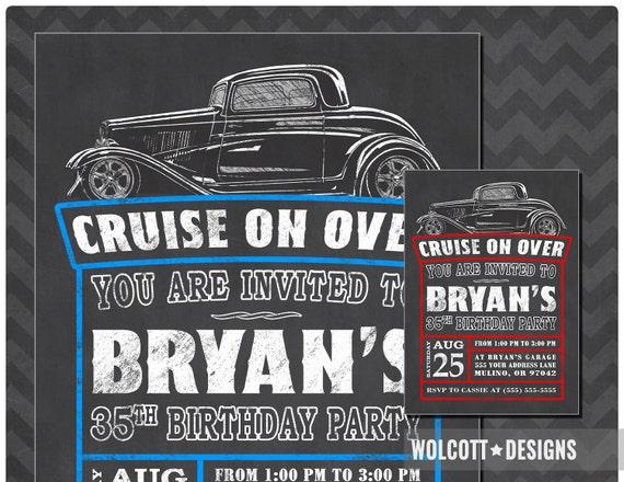 Hot Rod Birthday Invitation Vintage Car Hot Rod Invitations Etsy - Classic car invitations