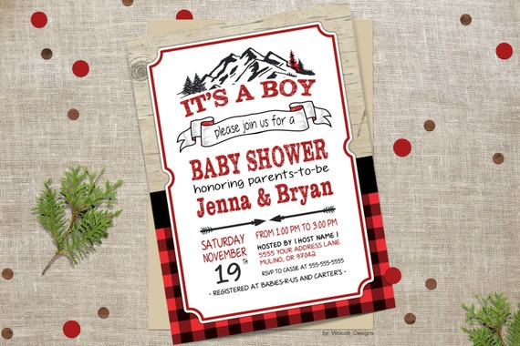 Lumberjack Baby Shower Invitation Plaid Baby Show Flannel Baby