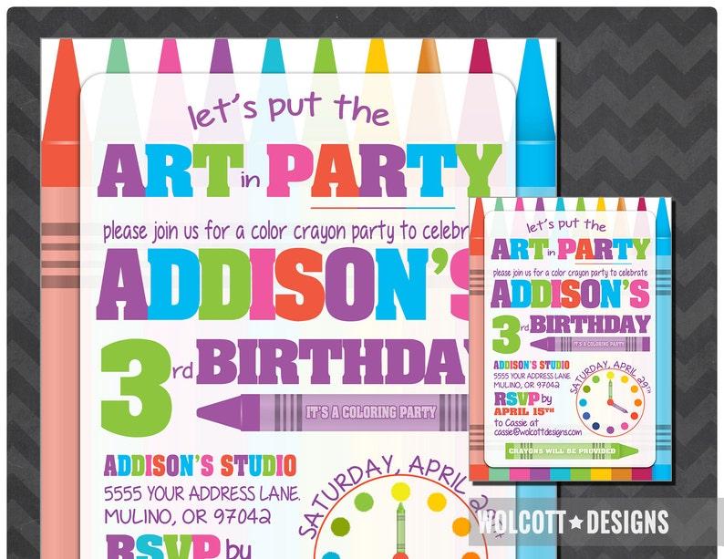 Art Party Invitation Kids Coloring Invite Printable Crayon