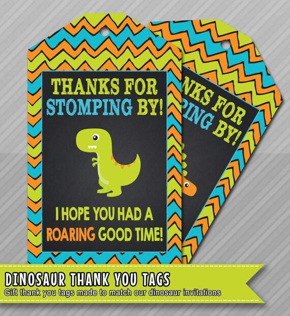 Dinosaur Thank You Tag Birthday Favor Printable Instant