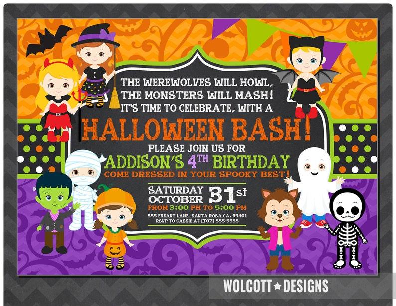 Girls Halloween Party Invitation Kids Halloween Party Invitation Costume Party Invitation Halloween Birthday Party Invitations