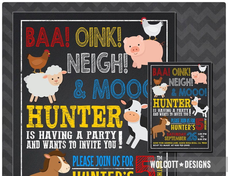 Farm Birthday Invitations Party