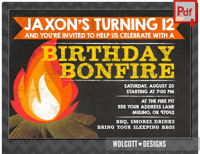 Bonfire Invitation Camp Party Invitations Smores Birthday Chalk Instant Download