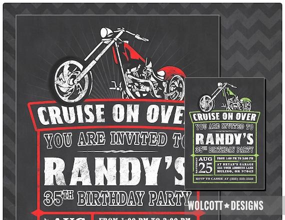 Motorcycle Birthday Invitation Chopper Harley Invitations Invite Davidson Biker