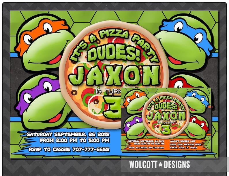 Ninja Turtles Invitation TMNT Invite PRINTABLE INVITATION Pizza Party Birthday