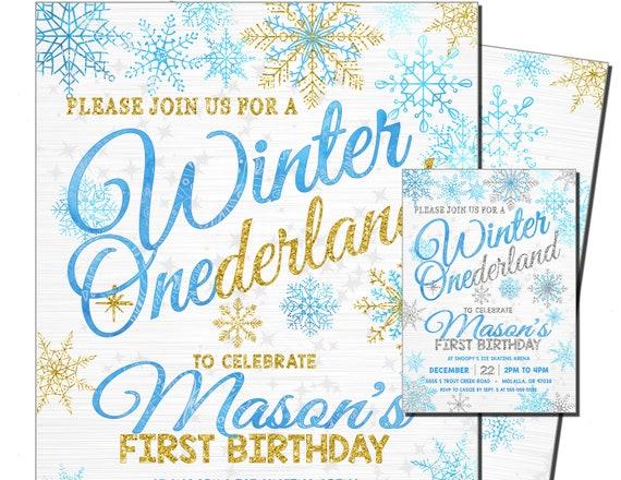 Boys Winter Onederland Birthday Invitation Gold Glitter Onederland