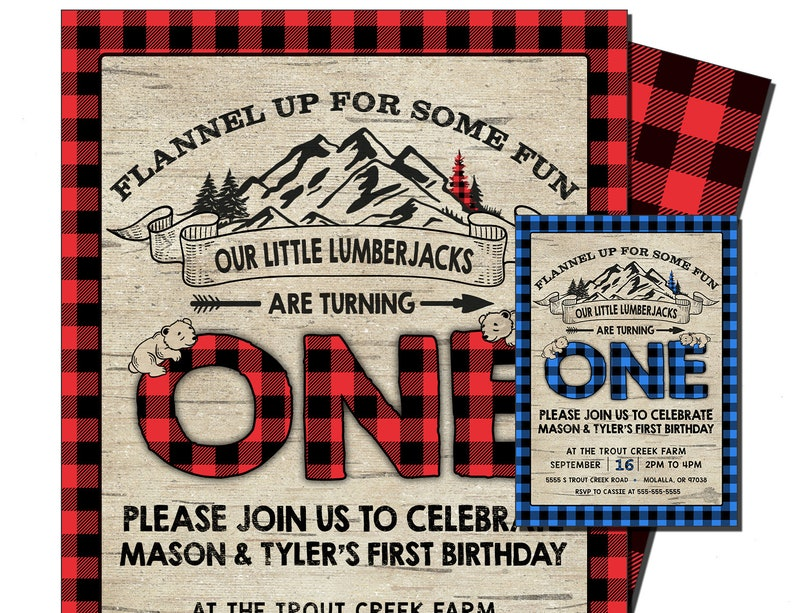 LUMBERJACK INVITATION For TWINS Flannel 1st Birthday Invite