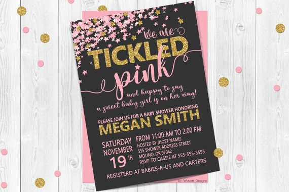 We Are Tickled Pink Baby Shower Invitation Gold Baby Shower Etsy