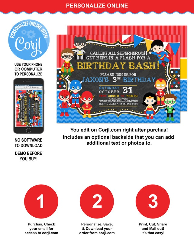 Superhero Birthday Invitation Avengers Avenger Party DIY Corjl