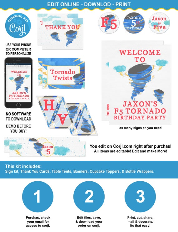 Tornado Birthday Party Decoration Kit With Banners Table Tents
