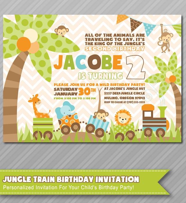 Jungle Theme Thank You Card Matching Jungle Invitations Baby