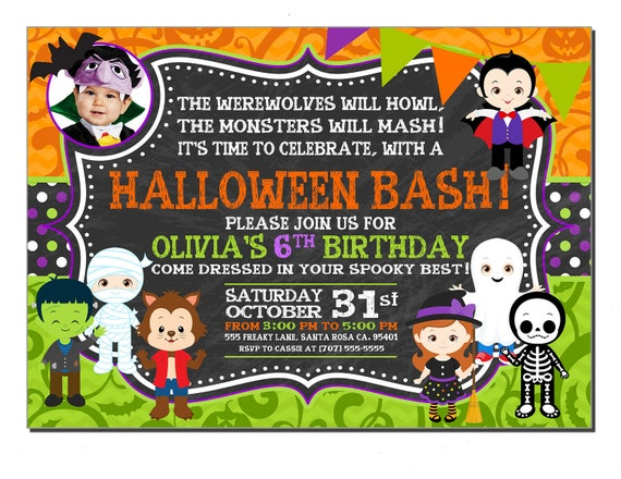 Photo Halloween Birthday Party Invitations For Boys Any Color
