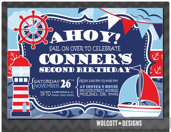 Nautical Birthday Invitation Party Ahoy