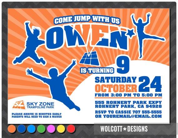 Trampoline Birthday Party Invitation Bounce House
