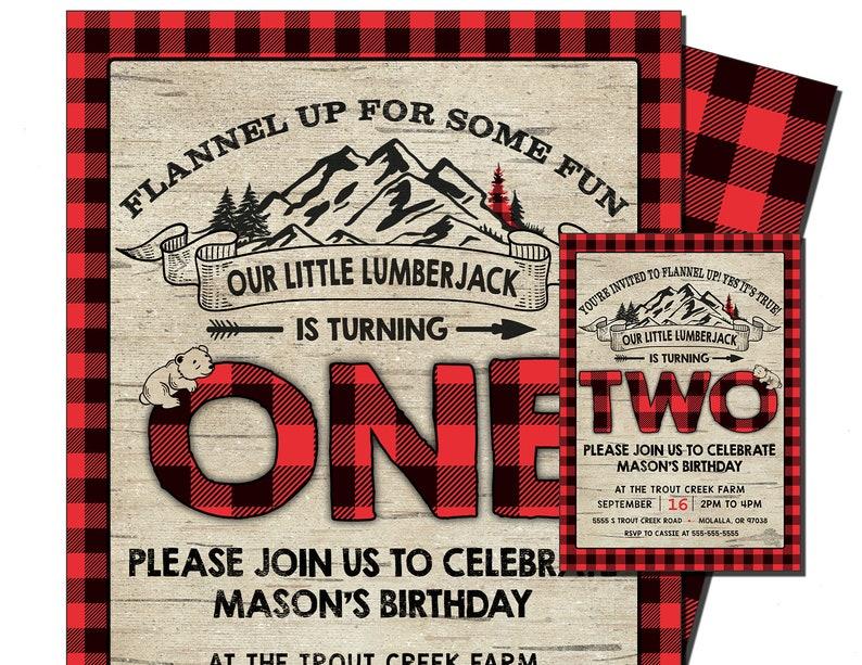 LUMBERJACK INVITATION Flannel 1st Birthday Invite Plaid