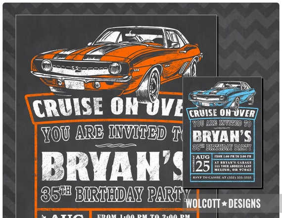 Camaro Hot Rod Birthday Invitation Classic Car Invite Vintage Chalkboard Style Party 69