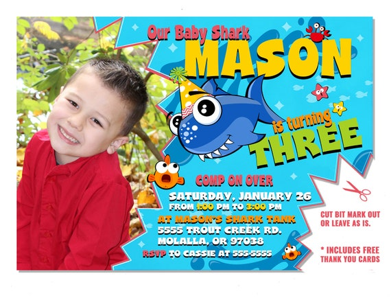 Boys Baby Shark Song Birthday Invitation With Photo Party Invite Do Blue