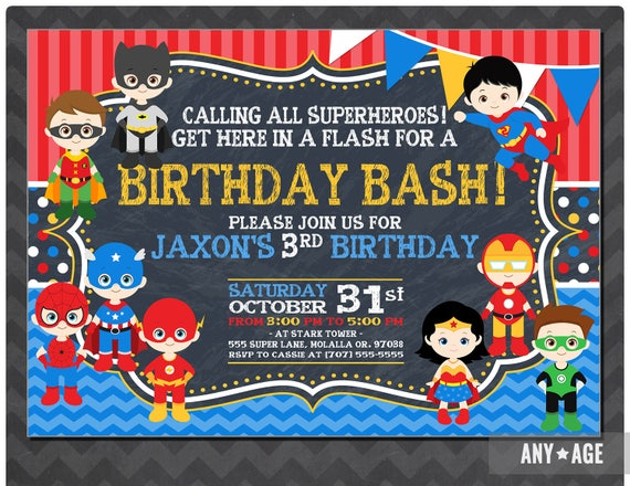 Superhero Birthday Invitation Personalized Invite Paty Superheor