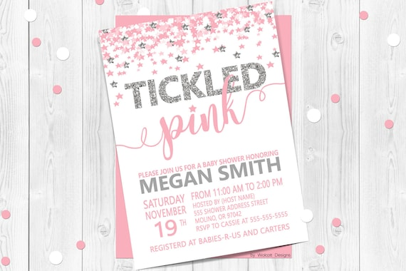 Tickled Pink Baby Shower Invitation Confetti Baby Shower Invitation