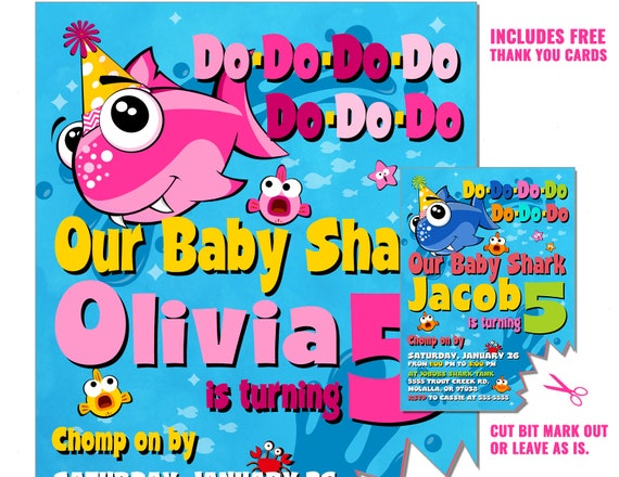 Baby Shark Song Birthday Invitation Girl Or Boy Party Invite Do Boys Pink