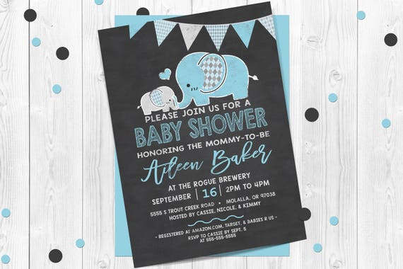 Blue Elephants Chalkboard Baby Shower Invitations Elephant Baby Shower Invitation Boy