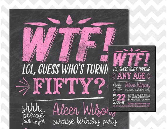 Whos Turning 50 WTF Surprise 50th Birthday Invitations Invitation Chalkboard