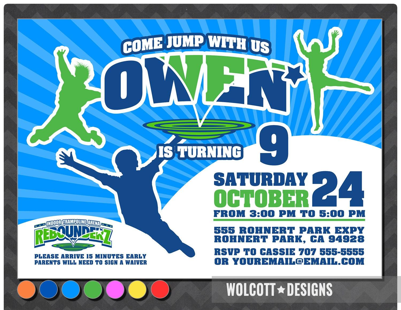 Trampoline Party Invitation Bounce House Invitation Jump Etsy
