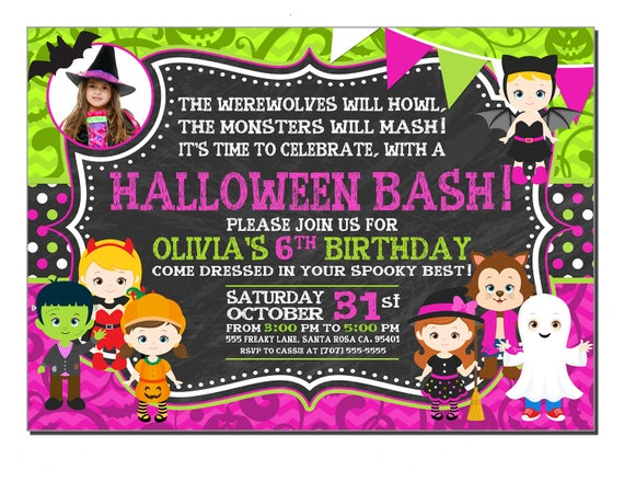 Photo Halloween Birthday Party Invitations For Girls Any Color Personalized Invitation Printed Pink