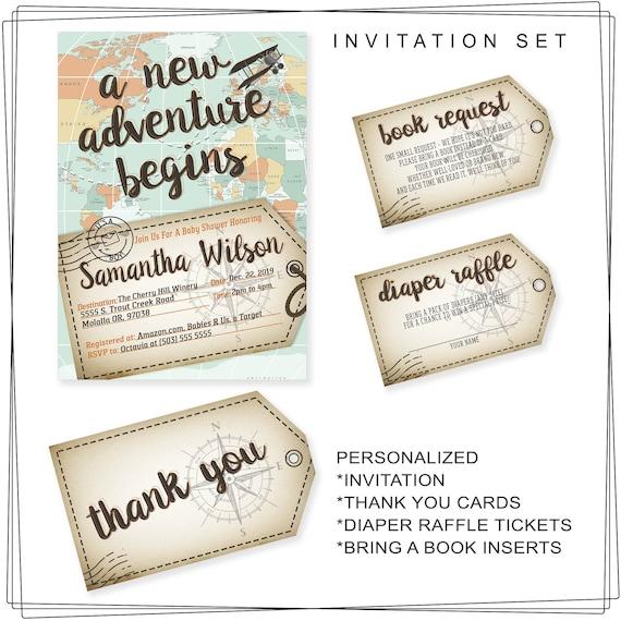 Adventure Awaits Travel Theme Baby Shower Invitation Printable Etsy