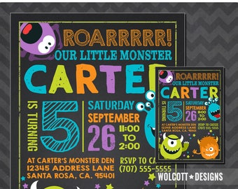 Monster 1st birthday invitation, Little Monster Invitation, Monster Party, Little Monster Party Invitation, 1st birthday Boy, First Birthday