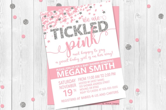 We Are Tickled Pink Baby Shower Invitation Confetti Baby Etsy