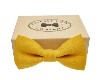 Irish Linen Bow Tie in Mustard Yellow - Adult & Junior sizes available