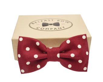 Handmade Spotted Bow Tie in Burgundy Red - Adults & Boy's sizes Available