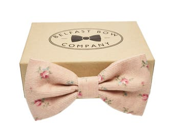 Handmade Corduroy Bow Tie in Pastel Pink - Adult & Junior sizes available